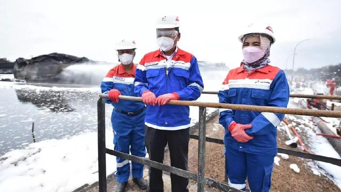 Menteri ESDM Arifin Tasrif meninjau kilang Pertamina di Balongan.