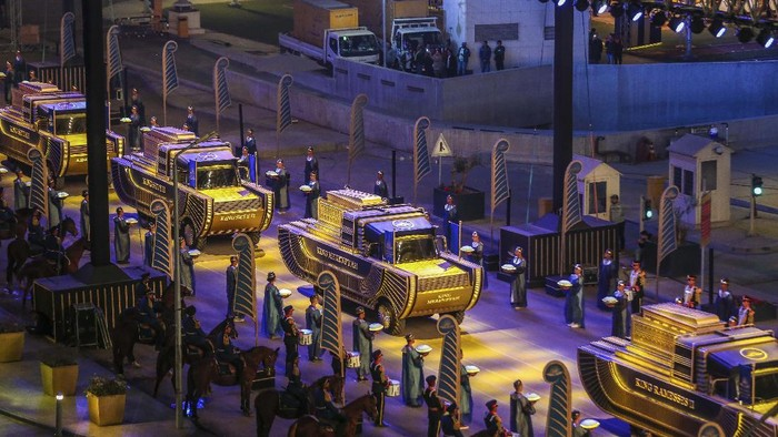 A convoy of vehicles transporting royal mummies is seen in Cairo, Egypt, Saturday, April 3, 2021. Egypt held a parade celebrating the transport of 22 of its prized royal mummies from Egyptian Museum to he newly opened National Museum of Egyptian Civilization. (AP Photo/Samah Zidan)