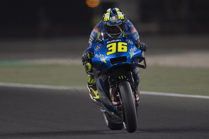 DOHA, QATAR - APRIL 03: Joan Mir of Spain and Team Suzuki ECSTAR   heads down a straight during the MotoGP of Qatar - Qualifying at Losail Circuit on April 03, 2021 in Doha, Qatar. (Photo by Mirco Lazzari gp/Getty Images)