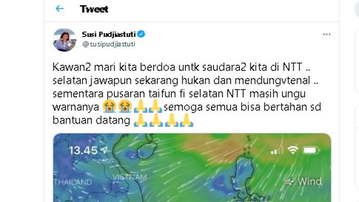 Bencana yang menimpa saudara-saudara di NTT (Nusa Tenggara Timur) juga dikawal oleh Susi Pudjiastuti. Ia mengaku memantaunya menggunakan aplikasi ini.  Banjir akibat badai yang menerpa Kota Kupang dan beberapa daerah di NTT ini terjadi sejak Sabtu (3/4/2021). Tagar #prayforNTT pun menjadi trending topic di Twitter.