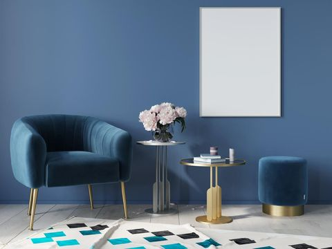 Blue interior in art deco style with armchair, poster, metal tables with marble countertop. Mock up interior / 3D illustration, 3d render