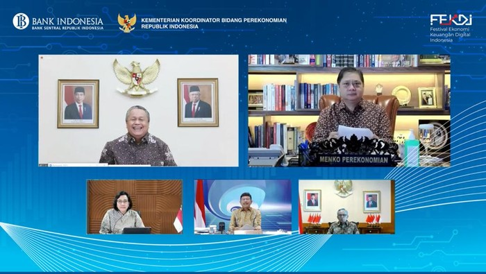 Peluncuran FEKDI 2021 hasil kerja sama Bank Indonesia (BI), Kemenko Perekonomian bersama Kementerian/Lembaga terkait hingga pelaku industri. Acara tersebut mengangkat tema 'Bersinergi dalam Akselerasi Digitalisasi Ekonomi dan Keuangan Indonesia', yang digelar secara virtual selama 4 hari, mulai tanggal 5 hingga 8 April 2021 mendatang.