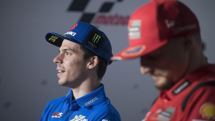 DOHA, QATAR - MARCH 25:  Joan Mir of Spain and Team Suzuki ECSTAR  speaks during the press conference pre-event during the MotoGP of Qatar - Previews at Losail Circuit on March 25, 2021 in Doha, Qatar. (Photo by Mirco Lazzari gp/Getty Images)