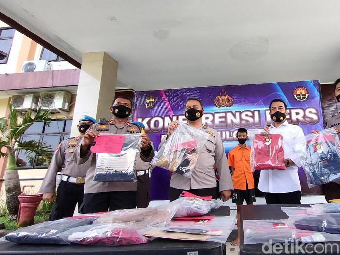 Jumpa pers kasus pembunuhan dua wanita muda di Kulon Progo, Senin (5/4/2021).