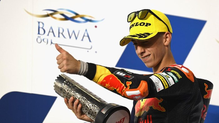 DOHA, QATAR - MARCH 28: Pedro Acosta of Spain and Red Bull KTM Ajo celebrates the second place on the podium at the end of the Moto3 race during the MotoGP of Qatar - Race at Losail Circuit on March 28, 2021 in Doha, Qatar. (Photo by Mirco Lazzari gp/Getty Images)