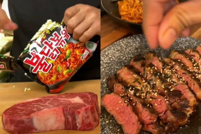Dims The Meat Guys masak steak pakai bumbu saus Samyang.