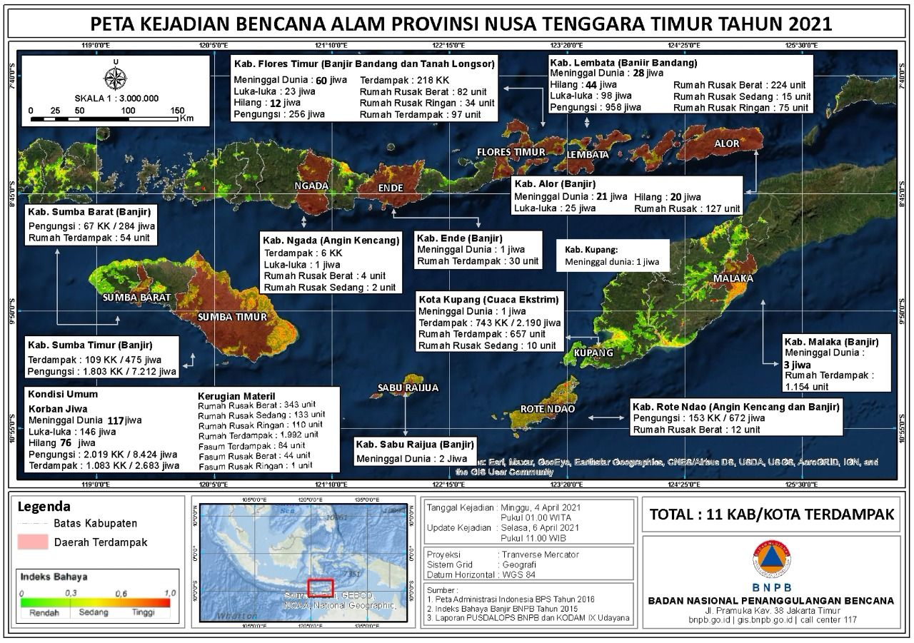 Data terbaru penanganan bencana alam di NTT per Selasa (6/4) malam (dok BNPB)