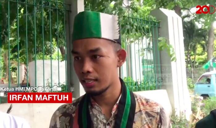 Ketua HMI MPO Cabang Jakarta, Irfan Maftuh. (Dok 20detik)