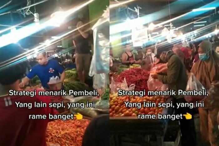 pedagang sayur di Pasar Cikema, Bogor heboh menyanyikan yel-yel untuk menarik pembeli.
