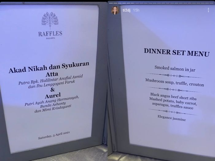 Serba Mewah! Ini Menu Makanan dan Isi Sovenir Pernikahan Atta dan Aurel