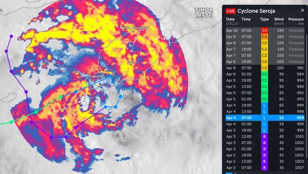 Siklon Tropis Seroja Dilihat dari Satelit