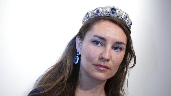 The Beauharnais sapphire and diamond tiara is seen during a viewing at Christie's auction house in Amsterdam, Netherlands, Wednesday, April 7, 2021. The tiara and it's accompanying ring and earrings studded with diamonds and sapphires were in Amsterdam ahead of their auction next month in Geneva. The Beauharnais jewels once belonged to Napoleon Bonaparte's adopted daughter, Stephanie de Beauharnais, Grand Duchess of Baden. (AP Photo/Peter Dejong)