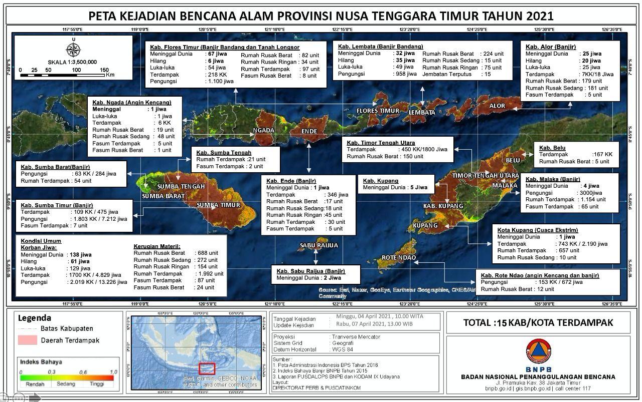 Data korban bencana alam NTT, Rabu (7/4)