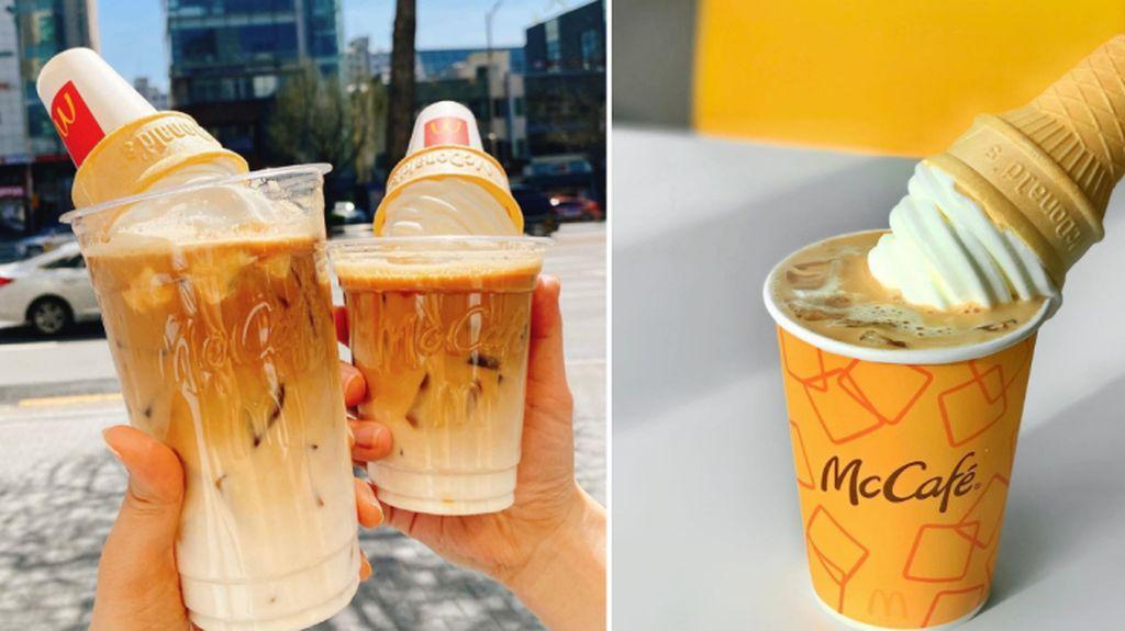 Es Kopi Latte Topping Es Krim Cone Jadi Tren di Korea, Gampang Dibuat!