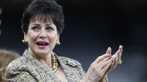 New Orleans Saints owner Gayle Benson, watches the team warm up, before an NFL football game against the Carolina Panthers, Sunday, Nov. 24, 2019, in New Orleans. (AP Photo/Butch Dill)