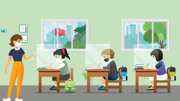 Infografis Protokol Kesehatan di Sekolah saat Tatap Muka