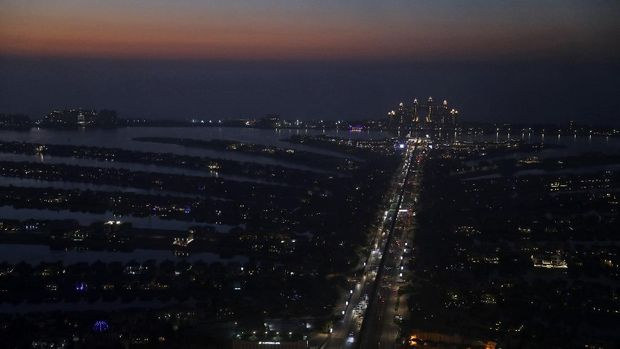 A general view of the Jumeirah Palm Island and the Atlantis hotel are seen from the observation deck of