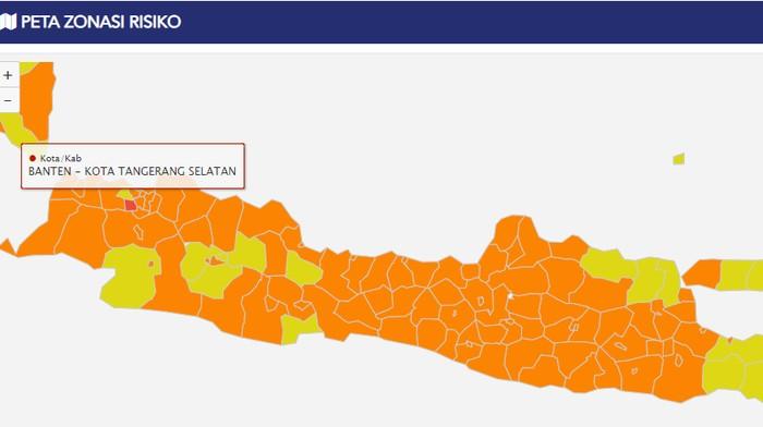 Peta Zonasi Risiko, Tangsel Zona Merah satu-satunya di Pulau Jawa (Dok. COVID-19.go.id)