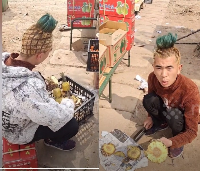 S3 Marketing! Gaya Rambut Seperti Nanas, Penjual Buah Ini Laris Manis