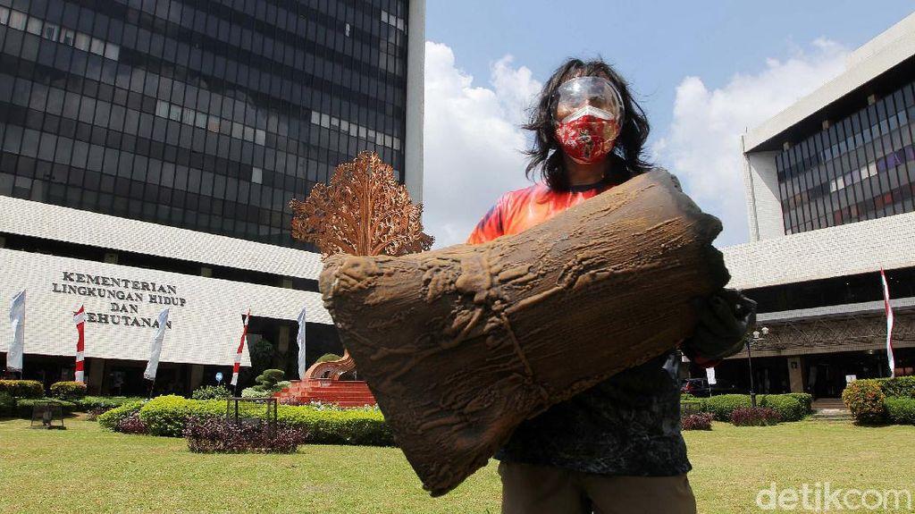 Bawa Bonggol Pohon, Aktivis Lingkungan Tolak Pengrusakan Hutan