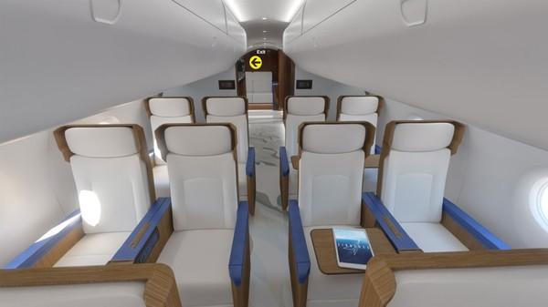 Beginilah tampilan eksklusif interior kabin pesawat para eksekutif AS di masa depan. Pesawat dari Exosonic ini adalah turunan 70 penumpang yang dimodif jadi hanya untuk 31 penumpang saja.