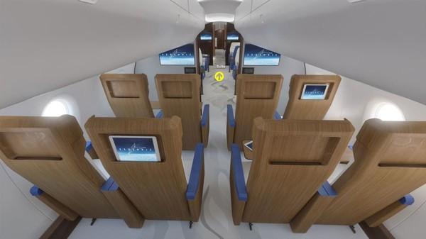 Mengikuti tren desain pesawat modern, sandaran kursi memiliki ruang untuk perangkat elektronik pribadi daripada monitor di sandaran kursi tradisional.