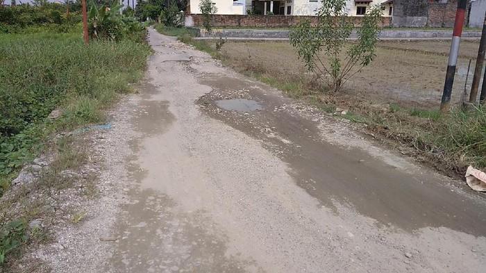 Jalan Bunga Ester yang rusak di Medan (Datuk-detikcom)