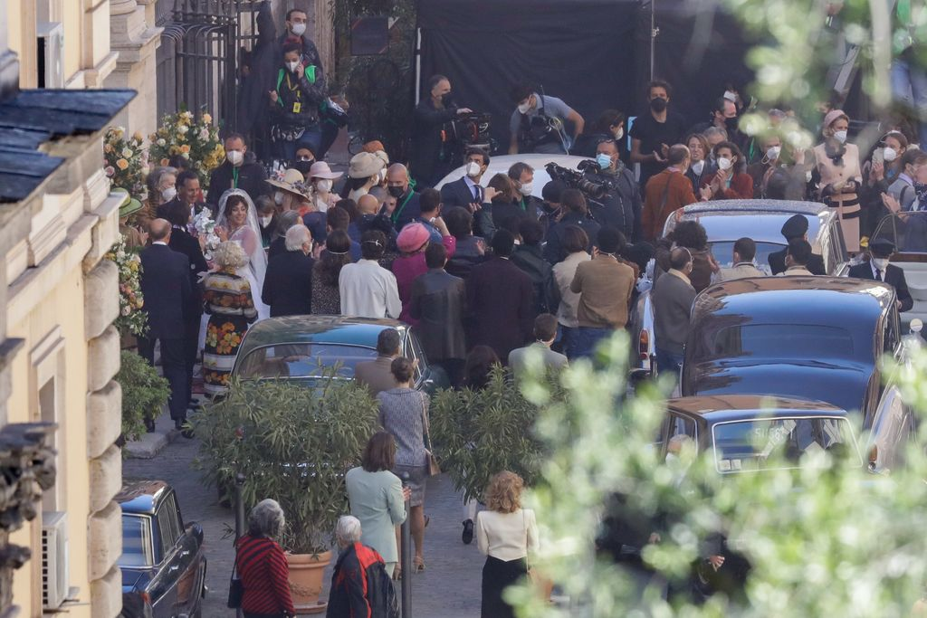 Lady Gaga plays Maurizio Gucci's former wife Patrizia Reggiani during the shooting of a movie by Ridley Scott, based on the story of the murder of Maurizio Gucci in 1995, in Rome, Thursday, April 8, 2021.  (AP Photo/Andrew Medichini)