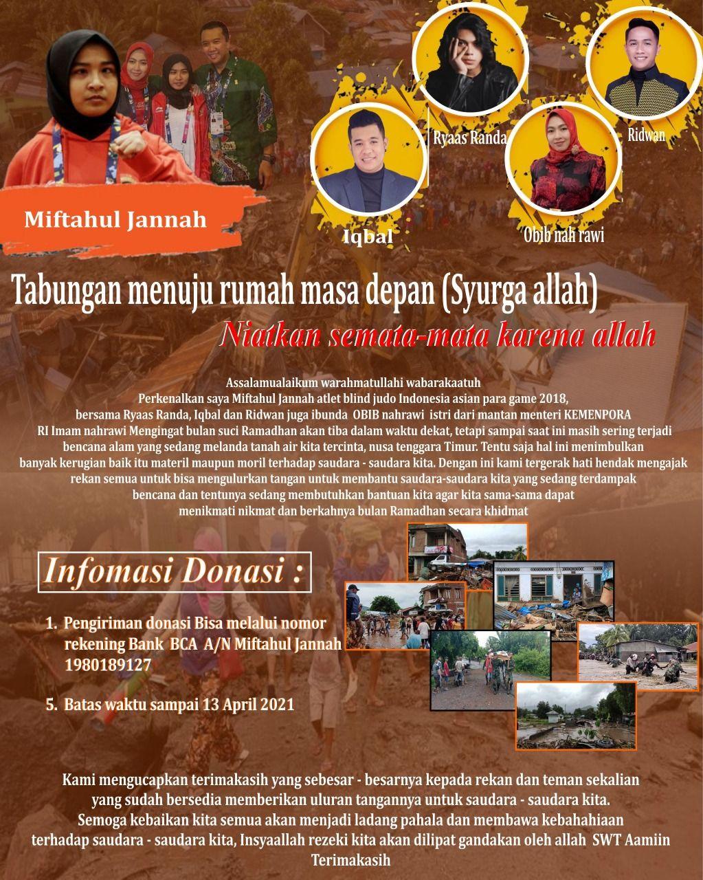 Atlet blind judo Indonesia Miftahul Jannah menggalang donasi bagi para korban banjir dan longsor NTT.