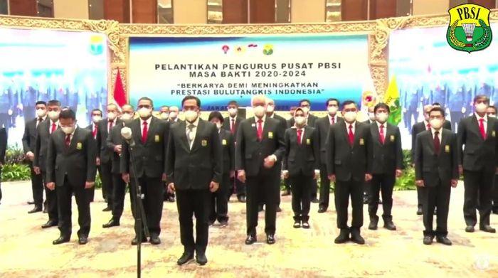 Pelantikan PP PBSI 2020-2024, Jumat (9/4/2021).