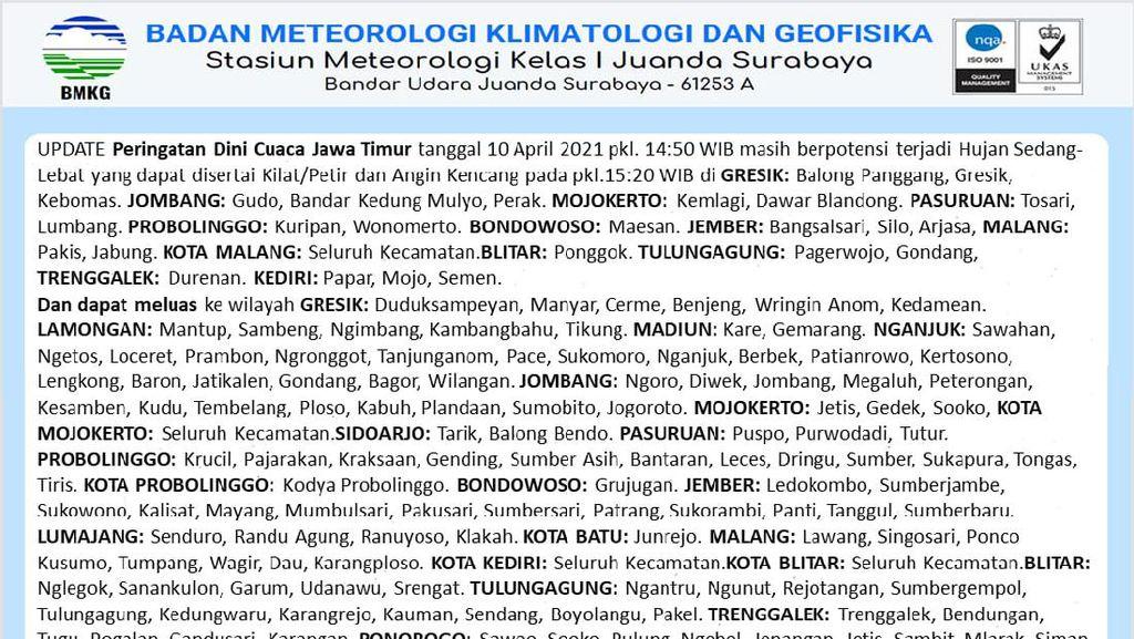 Waspadai Hujan Lebat Berdampak Longsor hingga Banjir Bandang Usai Gempa Malang