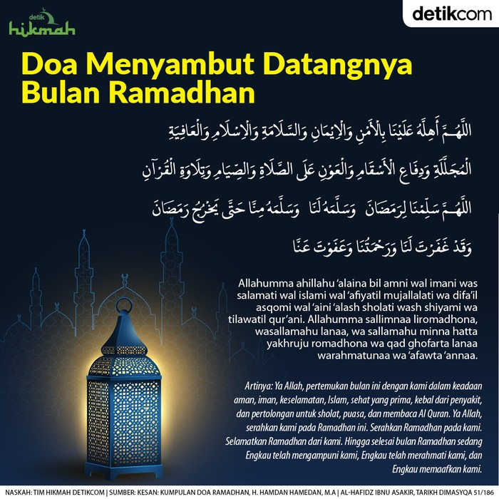 Doa menyambut datangnya bulan Ramadhan
