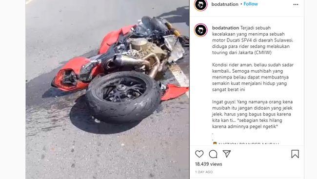 Duh, Ducati Streetfighter V4 Ringsek Kecelakaan, Sokbreker Depan Sampai Copot