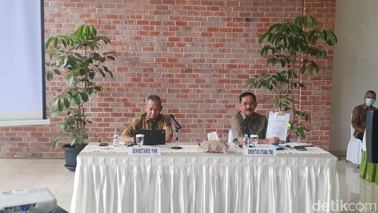 Foto: Sekretaris Yayasan Harapan Kita (kiri) dan Dirut TMII (kanan) (Foto: Afzal/detikcom)