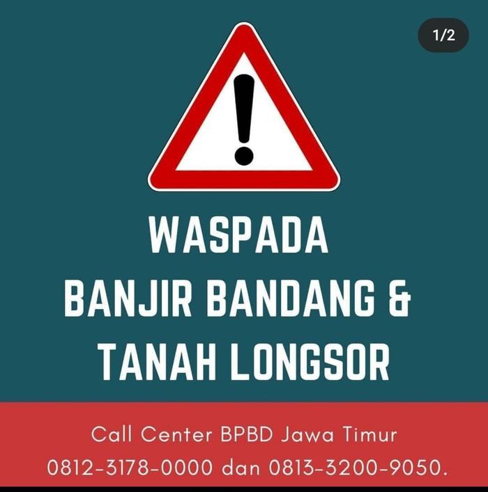 Gubernur Jawa Timur Khofifah Indar Parawansa meminta warga selain waspada gempa juga mewapadai banjir dan longsor