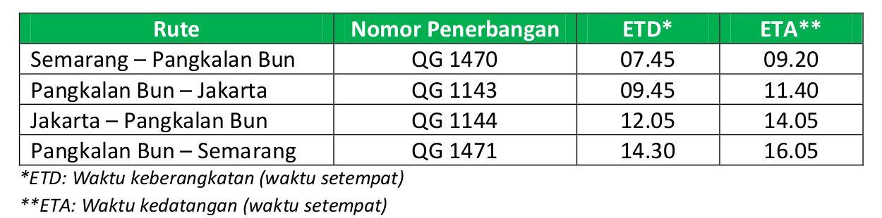 Jadwal Citilink rute Pangkalan Bun Jakarta