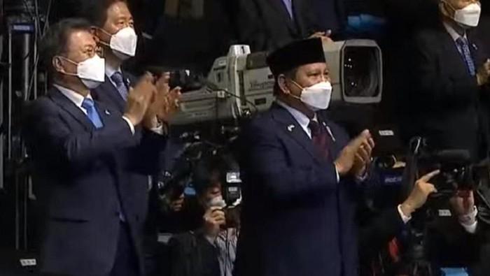 Menhan Prabowo Subianto menghadiri acara peluncuran jet temput di Korea Selatan