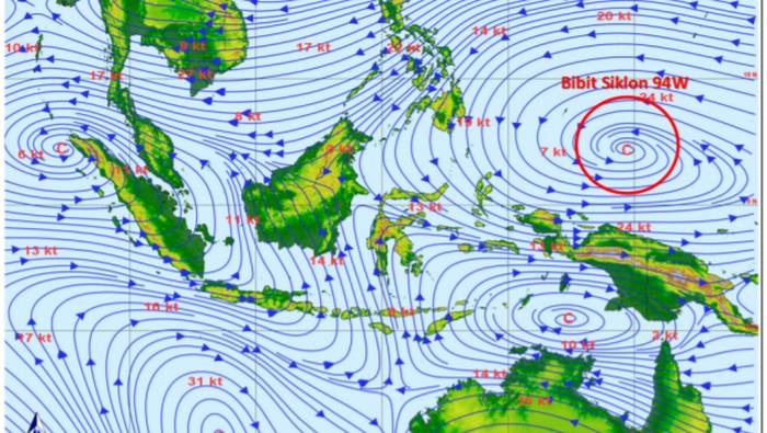 Bibit siklon tropis 94W di sekitar Pasifik Barat sebelah utara Papua (BMKG)