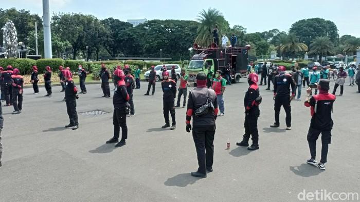 Demo buruh di Patung Kuda, Jakarta Pusat (Sachril/detikcom)