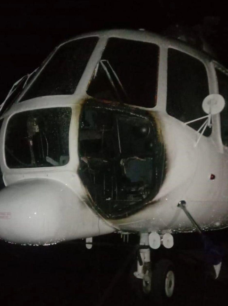 KKB Bakar helikopter di Bandara Ilaga Papua (Foto: Humas Nemangkawi)