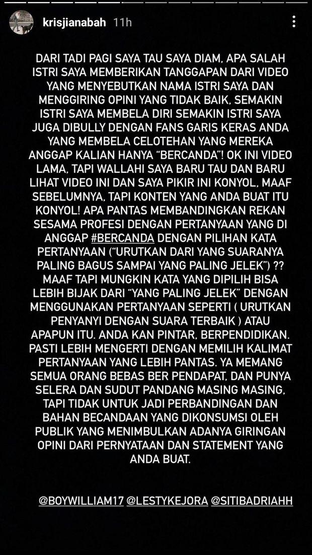 Krisjiana Baharudin bela Siti Badriah