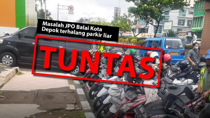 Masalah JPO Balai Kota Depok terhalang parkir, kini tuntas. (Repro: Tim Infografis detikcom)