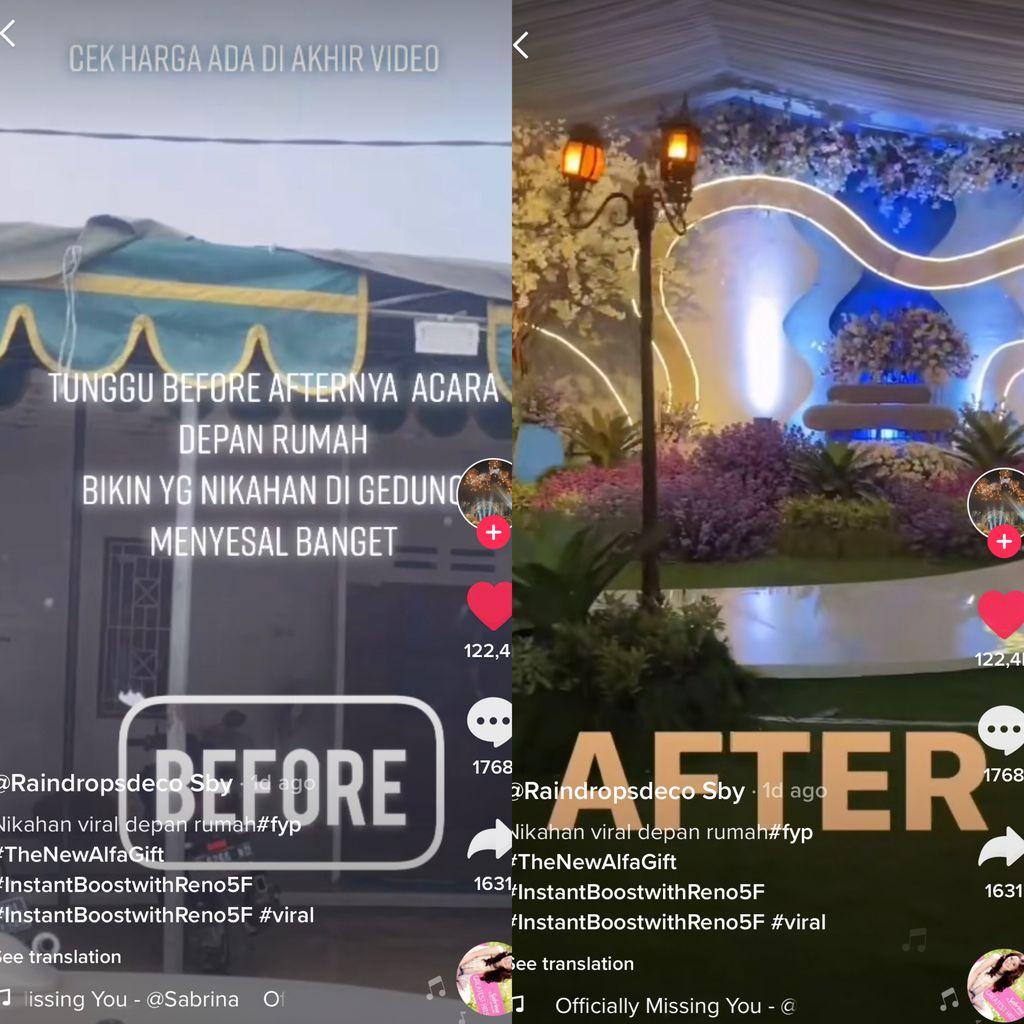 Viral dekorasi pernikahan di rumah seperti gedung.