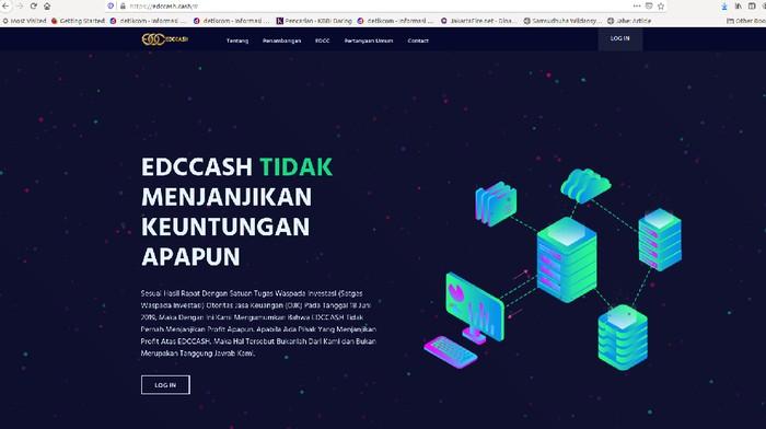 Website EDCCash diblokir Kominfo pada Senin (12/4/2021). Foto tangkapan layar website EDCash sebelum diblokir Kominfo.
