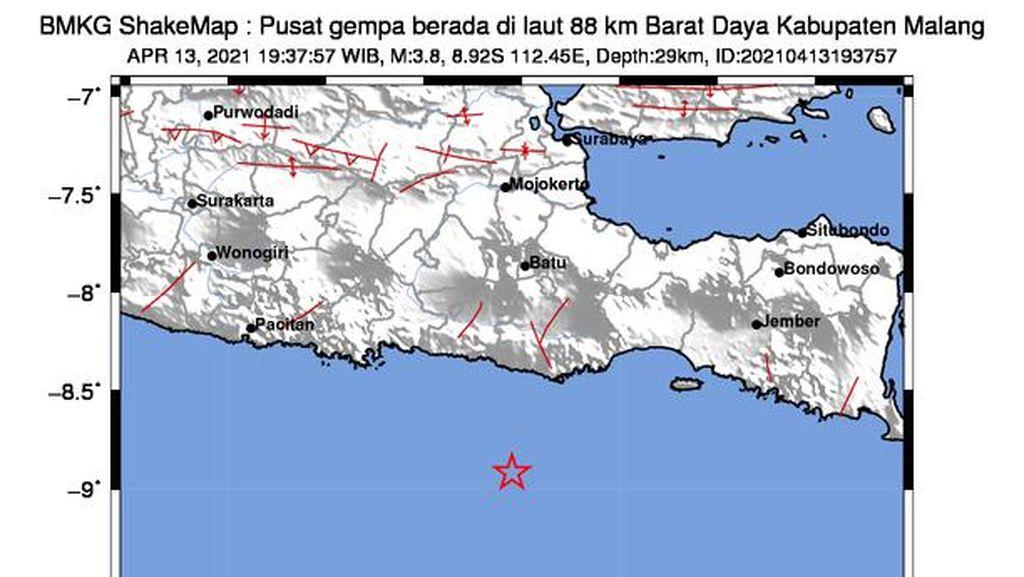 Gempa Malang Susulan M 3,8 Tak Terasa di Trenggalek