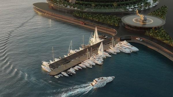 Hotel tersebut memiliki luas 35.000 meter persegi. Posisinya dapat dijangkau melalui dermaga yang terhubung ke daratan atau menggunakan helikopter untuk jalur udara atau perahu untuk jalur laut.Foto: Hayri Atak Architectural Design Studio/CNN