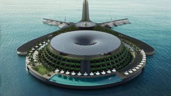 Hotel ini memiliki atap berbentuk pusaran yang dirancang untuk menampung air hujan. Air ini akan digunakan kembali untuk berbagai keperluan, termasuk irigasi.Foto: Hayri Atak Architectural Design Studio/CNN