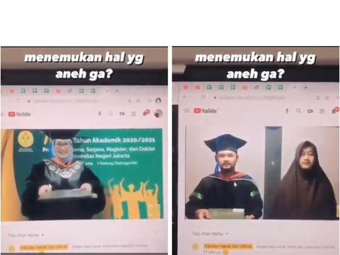 Viral video kocak mahasiswa yang sedang wisuda online.
