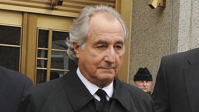 FILE - In this March 10, 2009, file photo, former financier Bernie Madoff leaves federal court in Manhattan, in New York. Madoff, the financier who pleaded guilty to orchestrating the largest Ponzi scheme in history, has died in prison, a person familiar with the matter tells The Associated Press. (AP Photo/David Karp, File)