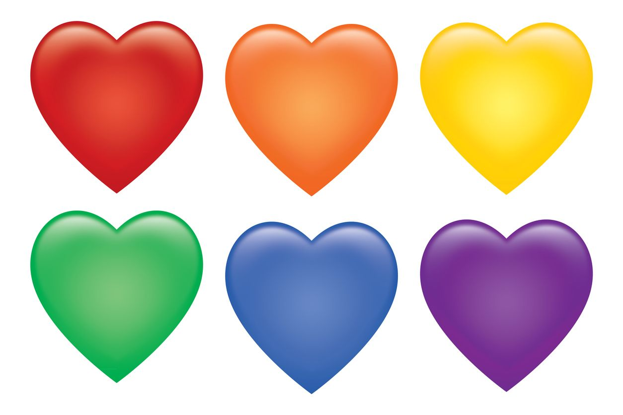 Vector illustration of six shiny colorful hearts on a white background.